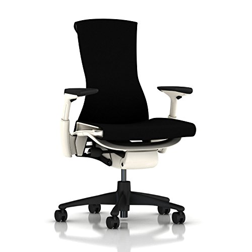 Herman Miller Embody Chair: Fully Adj Arms - White Frame/Graphite Base - Standard Carpet Casters