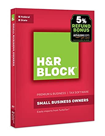 H&R Block Tax Software Premium & Business 2017 + 5% Refund Bonus Offer