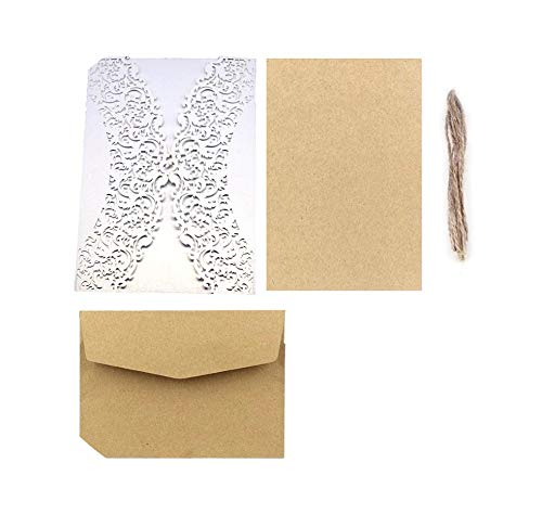 50pcs Lace Flower Wedding Invitation Cards Greeting Card
