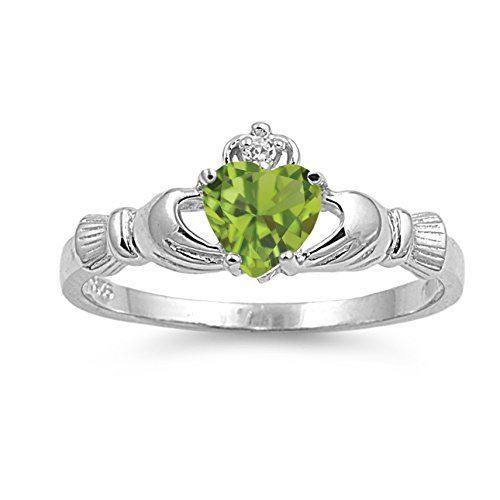 925 Sterling Silver Faceted Natural Genuine Green Peridot Claddagh Heart Promise Ring Size 8