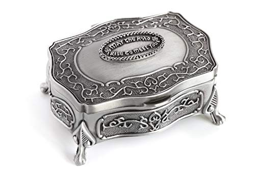 Biddy Murphy Celtic Jewelry Box Small May The Road Rise Medallion Pewter Made in Ireland