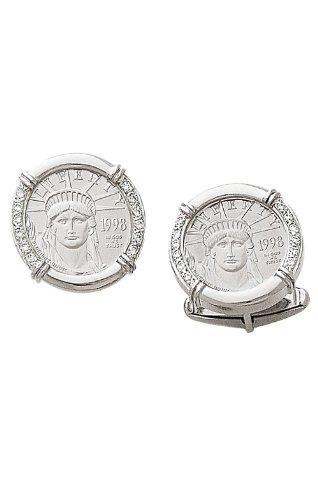 14K White Gold Cufflinks-1/10 oz. Genuine Platinum Eagle Coin with .24 CT Diamonds-86169 (White Gold Genuine Cufflinks)