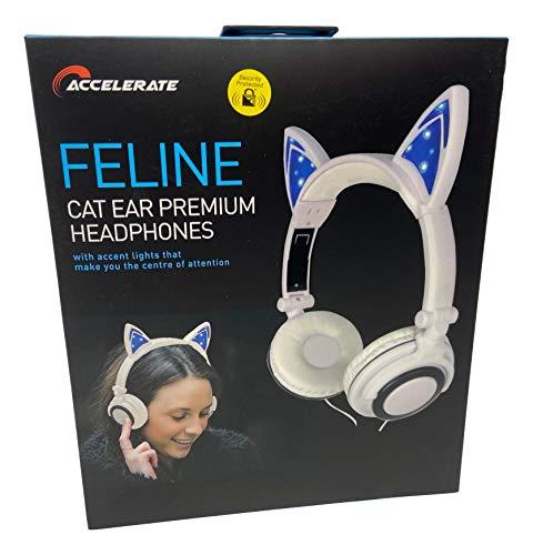 Feline Cat Ear Premium Foldable Headphone with LED Ears, White