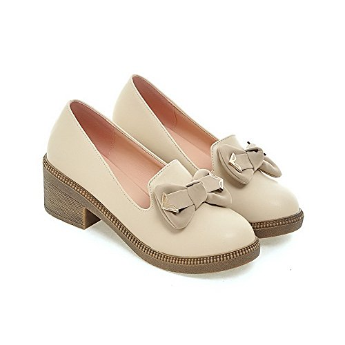 WeiPoot Womens Soft Material Pull-On Round Closed Toe Kitten-Heels Solid Loafer-Flats Beige cgULH7KRw