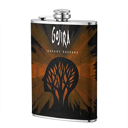 Gacslayed Adult Gojira L'Enfant Sauvage Stainless Steel Flagon 8OZ Outdoor Flagon With PU Leather Leakproof Flagon