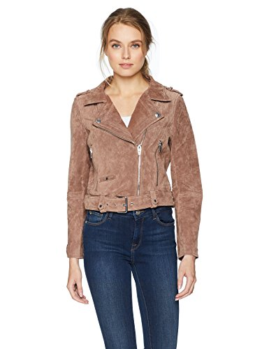[BLANKNYC] Women's Real Suede Moto Jacket, Coffee Bean, Large