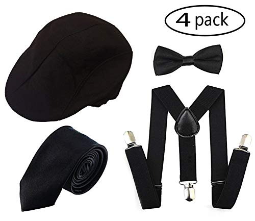 1920s Men Accessory Set Manhattan Hat, Y-Back Suspenders, Pre Tied Bow Tie,Gangster Tie Theme Party for Halloween (Black Cap)