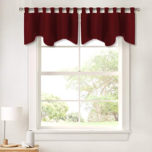 - PONY DANCE Natural Scalloped Valances - Window Treatments Blackout Tiers Tab Top Short Curtains Drapes for Bathroom Kitchen Bedroom Window Dressing Home Decor, 52