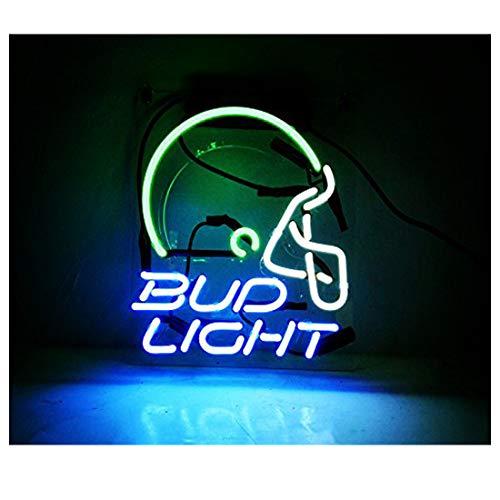 Neon Sign Helmet Bud Light for Garage Store Bar Game Room Window Wall Decorative Sign Light 10 x 8 Inch Blue