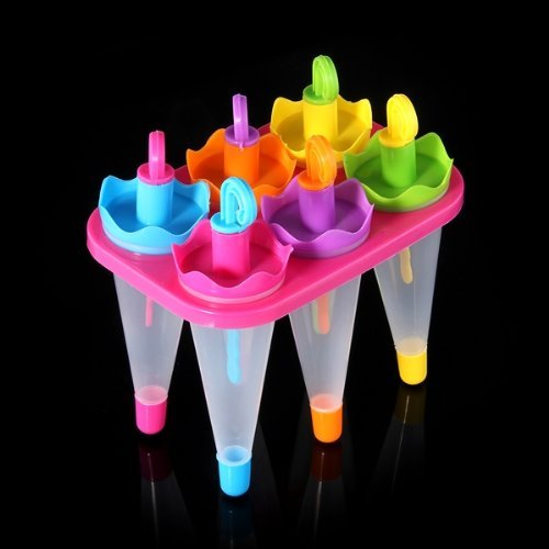 TOOGOO(R) 6 X Umbrella 6 Cell Frozen Ice Cream Pop Mold Popsicle Maker Lolly Mould Tray