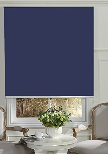 """BERYHOME Cristal Blackout Room Darkening Roller Shades/Blinds with Chain Cord. 20 Beautiful Colors Available. (W25""""xH68"""", Medium Blue)"""