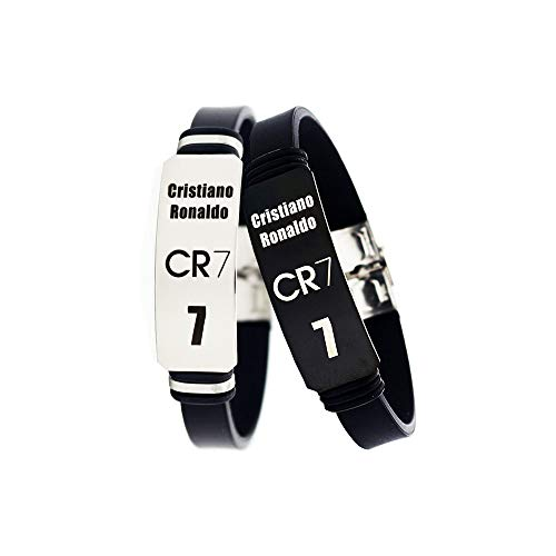 FANwenfeng Soccer Cristiano Ronaldo Inspirational Personal Logo Adjustable Wristbands CR7 Stainless Steel Sport Silicone Bracelet 2 Pcs