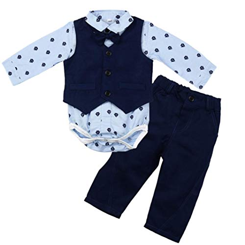Kids Boys Clothing Sets Print Tops Romper and Vest +Pants Clothes Suit for 0.5 to 2 Age Infant Boy (age:0-6month, blue) by InMarry