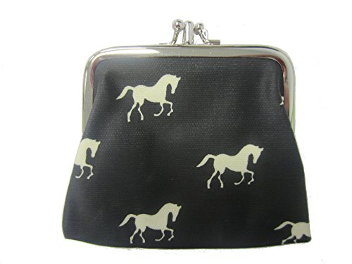Miss Lulu Designer Oil Cloth Clasp Coin Purse (Horse Black) from Miss Lulu