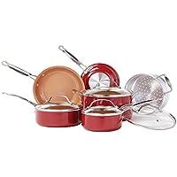 BulbHead Red Copper 10pc Ceramic Cookware Set