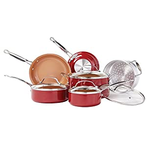 BulbHead (10824) Red Copper 10 PC Copper-Infused Ceramic Non-Stick Cookware Set 41AEKc360vL