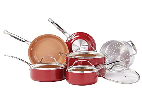 Red Copper 10pc Ceramic Cookware Set by Bulbhead Ceramic Copper Infused Nonstick Scratch And Heat Resistant From Stove To Oven Up To 500 Degrees Cookware Without PFOA And PTFEs