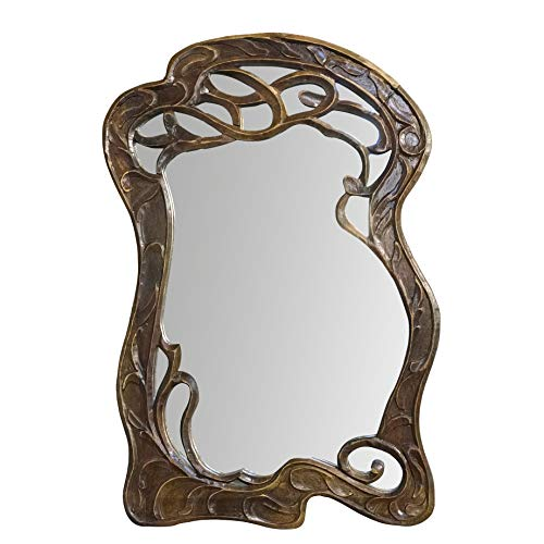 DecorShore Vienna - 30 in x 20 in Antique Style Hand Carved Mango Wood Curving Branches Design Decorative Wall Mirror ()