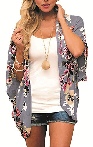 Women's Floral Kimono Cardigan Summer Loose Shawl Chiffon Beach Blouse Cover up X-Large Gray1