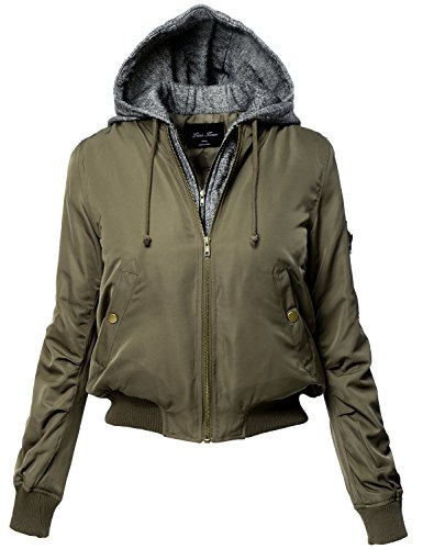 Plus Size Warm Hoodie Mixed French Terry Bomber Jackets 124-Olive 3X-Large