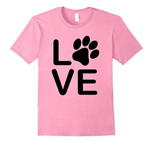 Mens I Love My Dog Tshirt - Womens Girls Guys Paw Print t-shirts. Medium Pink (Tshirts For Men Dog)