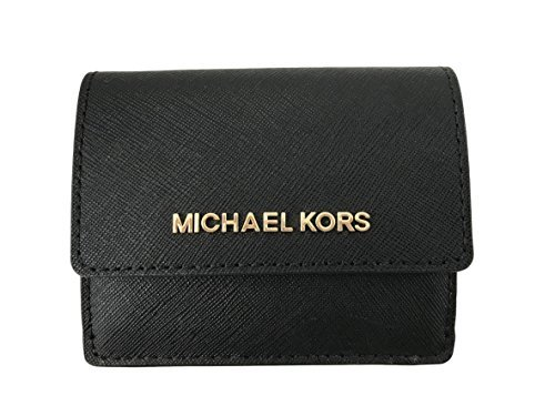 Michael Kors Jet Travel Leather Credit Card Case ID Wallet with Key Ring (Black) (Michael Kors Rings Size 6)