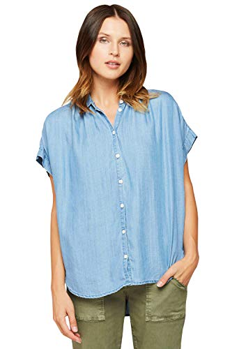 VELVET HEART 'Deon' - Women's Chambray Top, Short Sleeves, Loose Fit, Soft & Comfortable All Day! 100% Eco-Friendly ()