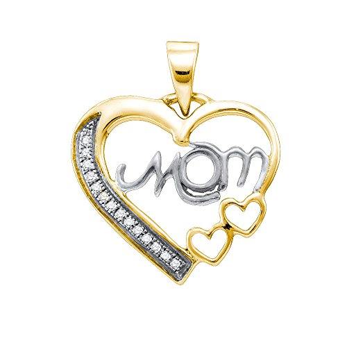 Sterling Silver White Diamond Mom Mothers Womens Heart Love Yellow-tone Pendant 1/20 Ctw