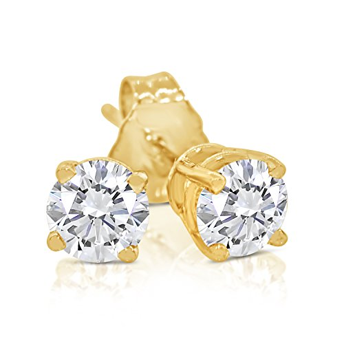 3/8ct tw Round Diamond Stud Earrings 14k Yellow Gold ()