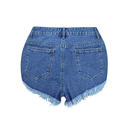 Las Blau Ropa Vaqueros Verano Bordados Florales Mezclilla Borlas Con Alta Pantalones Cortos De Sueltos Cintura Mujeres wqgSS0Z