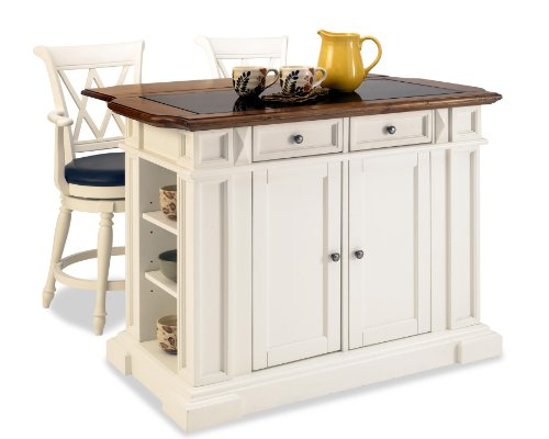 Home Styles Deluxe Traditions Island and Two Bar Stools, White and Distressed Oak Finish