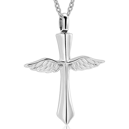 Cremation Jewelry - Angel wings Cross Necklace【Memorial Urn Necklace】 Religious Cremation Ashes Keepsake Jewelry Cremation Keepsake Free +20 Inch Chain+fill kit