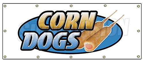 "48""x120"" CORN DOG BANNER SIGN hot dogs trailer cart signs on a stick franks"
