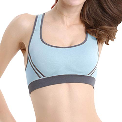 Aunimeifly Women's Sports Underwear Shock-Proof Yoga Gathering U Neck Running Worker's Bra Top Light Blue