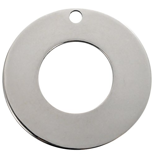 HOUSWEETY 10PCs Stainless Steel Stamping Blank Tags Charm Pendants Round Donut 30mm(1 1/8