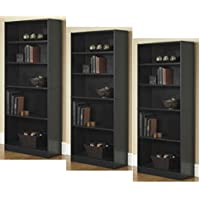 3-Adjustable Shelves | Orion Wide 5-Shelf Bookcase | 2 Fixed Shelves (Black,3)