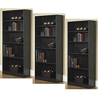 3-Adjustable Shelves | Orion Wide 5-Shelf Bookcase | 2 Fixed Shelves (Black,3)