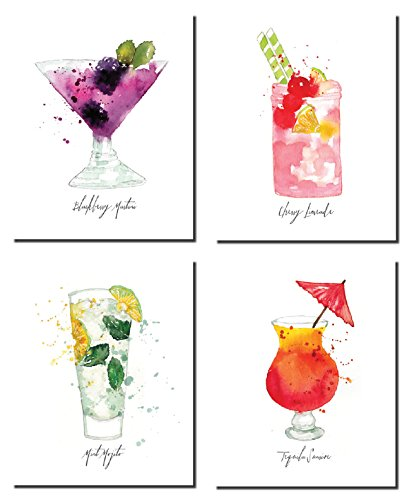 Fun, Colorful Watercolor Style Blackberry Martini, Cherry Limeade, Mint Mojito, Tequila Sunrise; Four 8x10in Poster Prints