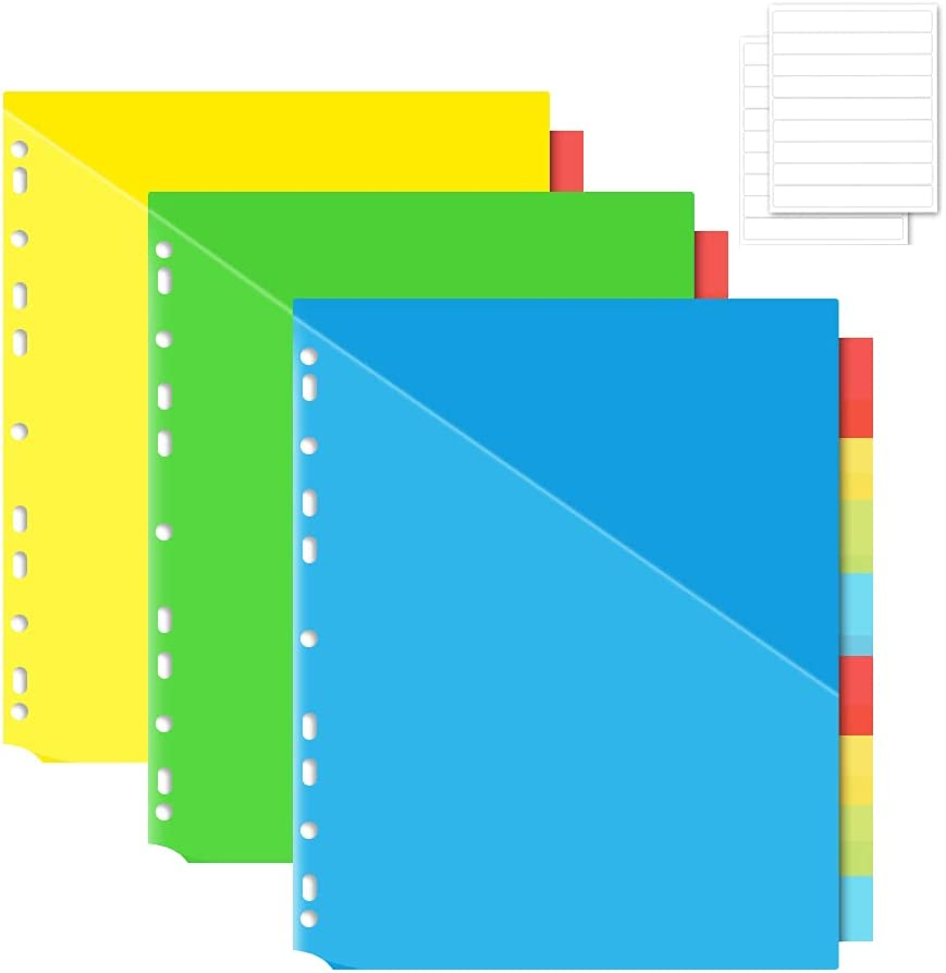 INFUN 8-Tab Plastic Binder Dividers with 2 Pockets, Insertable Multicolor Big Tabs, 3 Sets