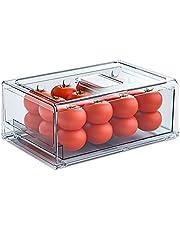 Fruit koelkast Organizer bakken met laden, grote plastic keuken organisatie en opbergkast voor koelkast, vriezer, bijkeuken, kast, badkamer, slaapkamer, BPA-vrij