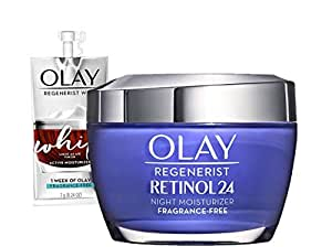 Olay Regenerist Retinol Moisturizer, Retinol 24 Night Face Cream, 1.7oz + Whip Face Moisturizer Travel/Trial Size Bundle