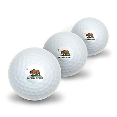California Republic Flag Novelty Golf Balls 3 Pack