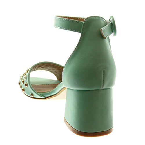 Angkorly Women's Fashion Shoes Sandals Pump Court Shoes - Ankle Strap - Thong - Jewelry - Pearl Block High Heel 6 cm Green RENTUtN