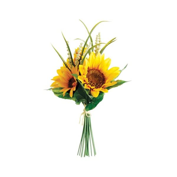 11″ Sunflower Silk Flower Bouquet -Yellow (Pack of 12)