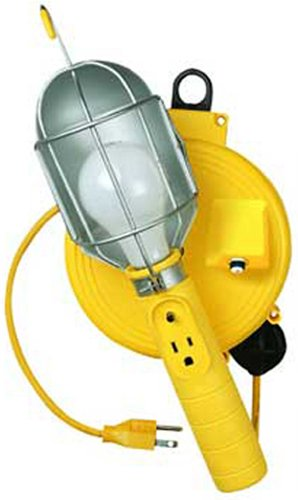 Bayco SL-450 Metal Shield Incandescent Utility Light with Grounded Receptacle on 20 Foot Retractable Reel