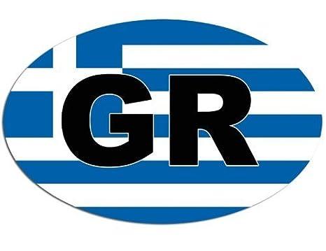 Greek 3x5 inch Oval GR with Greece Flag Sticker