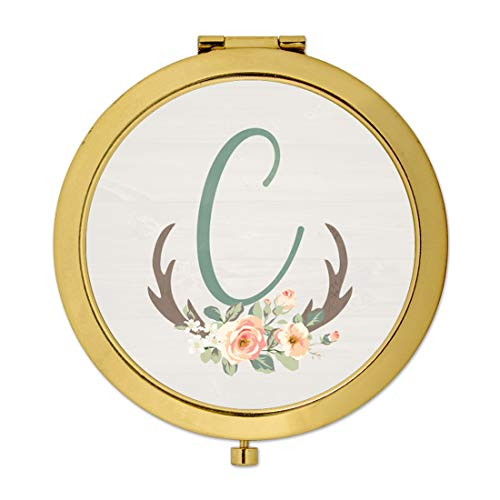 Andaz Press Gold Compact Mirror Bridesmaid's Wedding Gift, Floral Rustic Deer Antlers, Monogram Letter C, 1-Pack, Country Bachelorette Bridal Shower Wedding Party Gifts