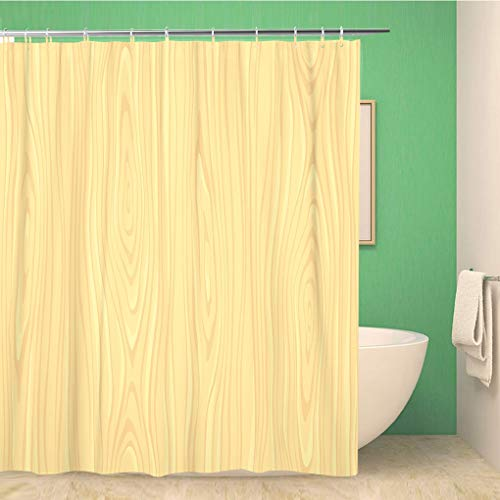 Awowee Bathroom Shower Curtain Wood Light Woodeen in Pattern Wooden Panel Tree Floor Polyester Fabric 72x78 inches Waterproof Bath Curtain Set with Hooks