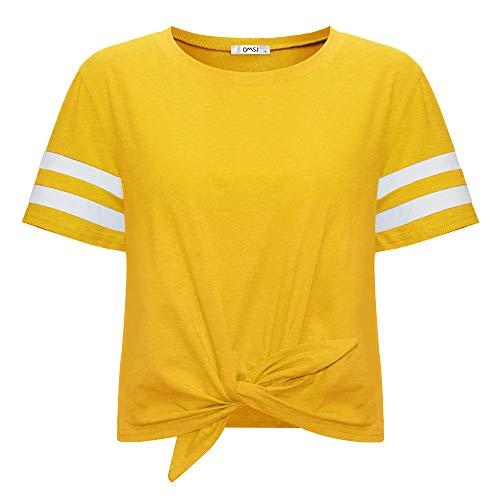 Dark Side Vintage T-shirt - Women's Summer Crop Top Solid Short Sleeve Tie Front T-Shirt (XL, 844Yellow)