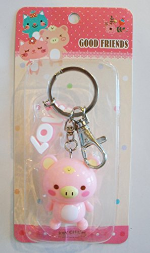 Adorable Pink Chubby Pig Keychain Key Ring Adorable Pig